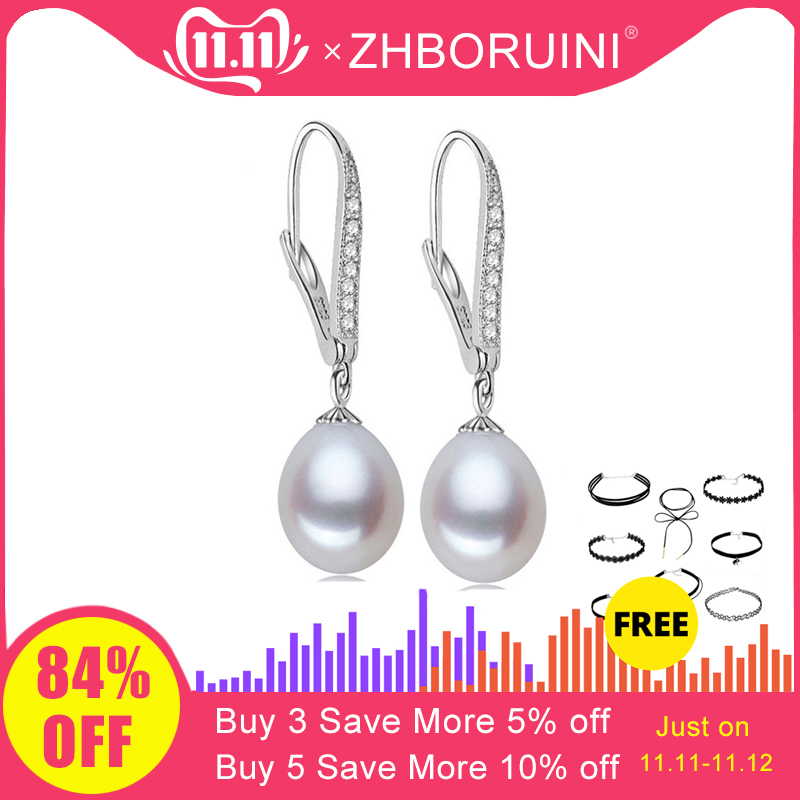ZHBORUINI Fashion Pearl Earrings Natural Freshwater Pearl Pearl Jewelry Drop Earrings 925 Sterling Silver Jewelry For Woman Gift
