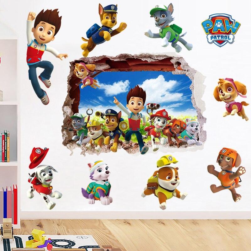 Мультяшные 3d наклейки на стену «Щенячий патруль» для детской комнаты, гостиной, мальчиков, девочек, детской спальни, «сделай сам», Декор для ...
