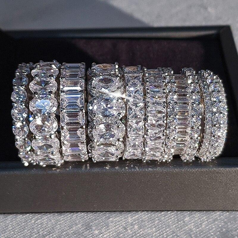 Bague de mariage de luxe, anneau d'éternité en argent 925 pour femme, beau cadeau pour dame, amour, vente en gros, lots de bijoux en vrac, R4577 4