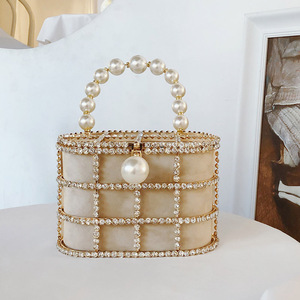 Image 2 - Diamonds Basket Evening Clutch Bags Women 2019 Luxury Hollow Out Preal Beaded Metallic Cage Handbags Ladies Wedding Party Purse