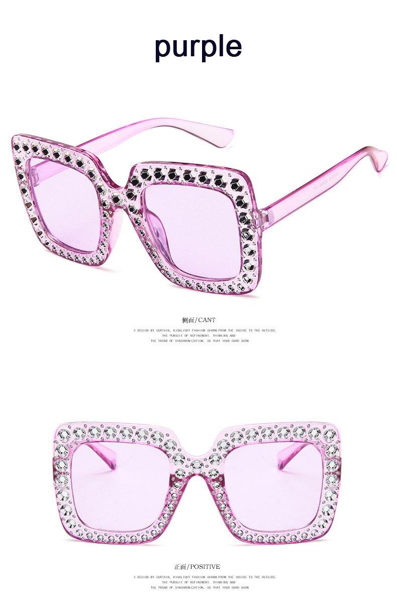 Women/'s Rhinestone Design Purple Diamond Sunglasses