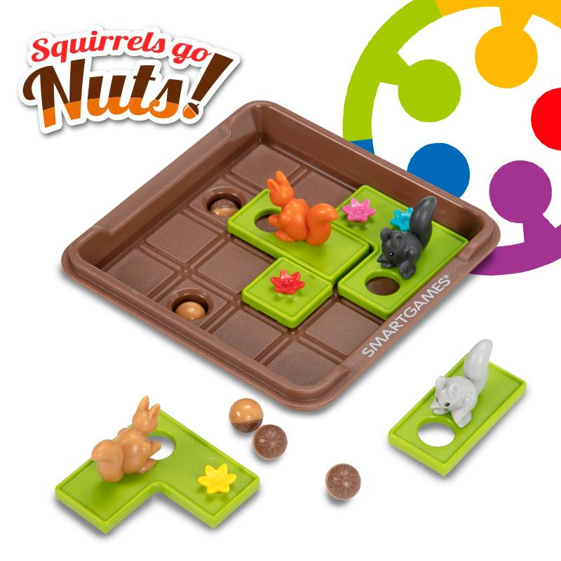 Smart Games Squirrels Go Nuts A Sliding Puzzle Travel Game For Kids Adults 60 Challenges Educational Toys Building Brain Game