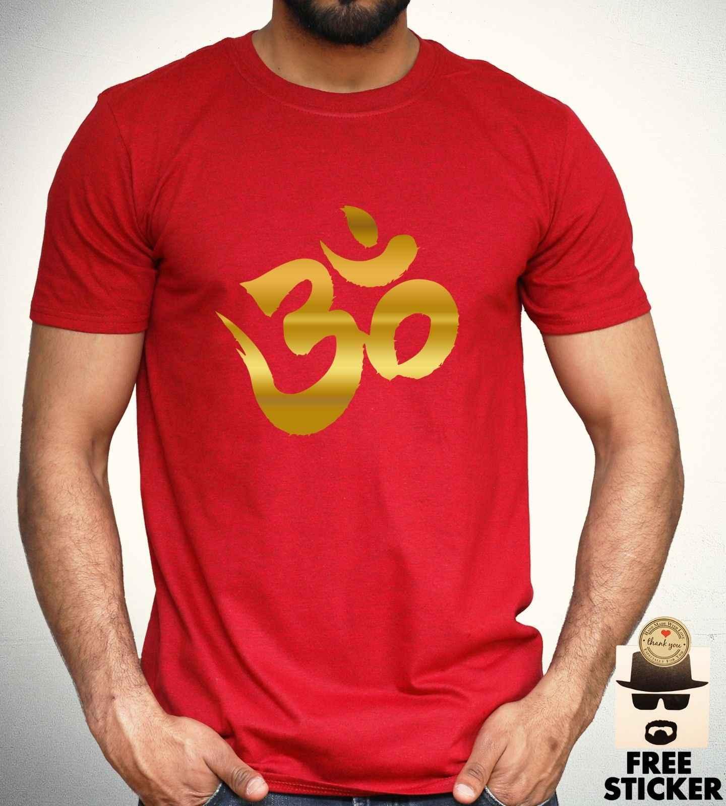 オームゴールドプリント Tシャツ瞑想リラクゼーションヨガ Tシャツヒンドゥー教メンズトップ S-XXL 快適な tシャツ格安卸売 tシャツ