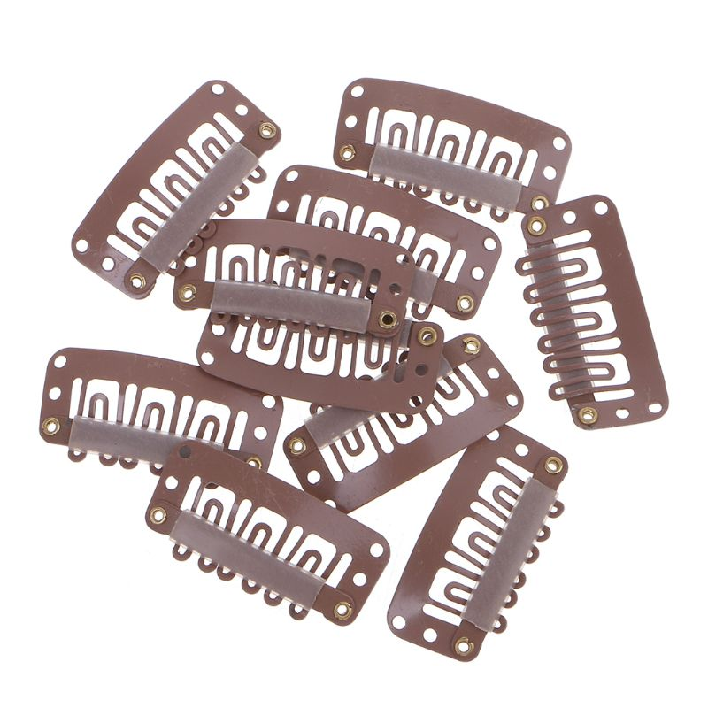 Hot 32mm 10 Pcs Middle U Brown Snap Hair Clip For Wig Hair Extension