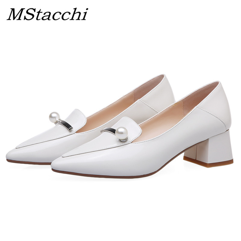 MStacchi Spring Newest Fashion Women Pumps Outside Pointed Toe High Heels Shoes Woman Genuine Leather Pearl Casual Shoe Feminino