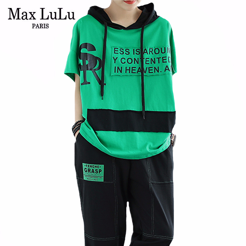 Max LuLu Korean Fashion 2020 Summer Ladies Casual Punk Tops And Pants Womens Loose Hooded Suits Cotton Printed Two Pieces Sets