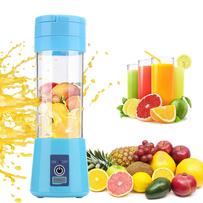 WX 380ml Portable Blender Electric Juicer USB Charging Smoothie Blender Mini Juice Maker Cup Home Mixer Food Processor 4/6 Blade