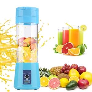 WX 380ml portable blender electric juicer USB charging smoothie blender Mini juice maker Cup Home mixer food processor 4/6 blade