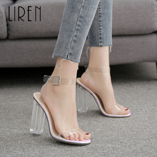 Liren 2019 Women Fashion Microfiber Sexy Lady Casual Buckle Sandals Crystal High Square Heels Comfortable