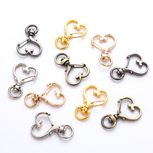 New 5Pcs Silver Gold Heart Clip Hook Keychain Rotating Lobster Buckle Split Hot Sale Birthday Gift