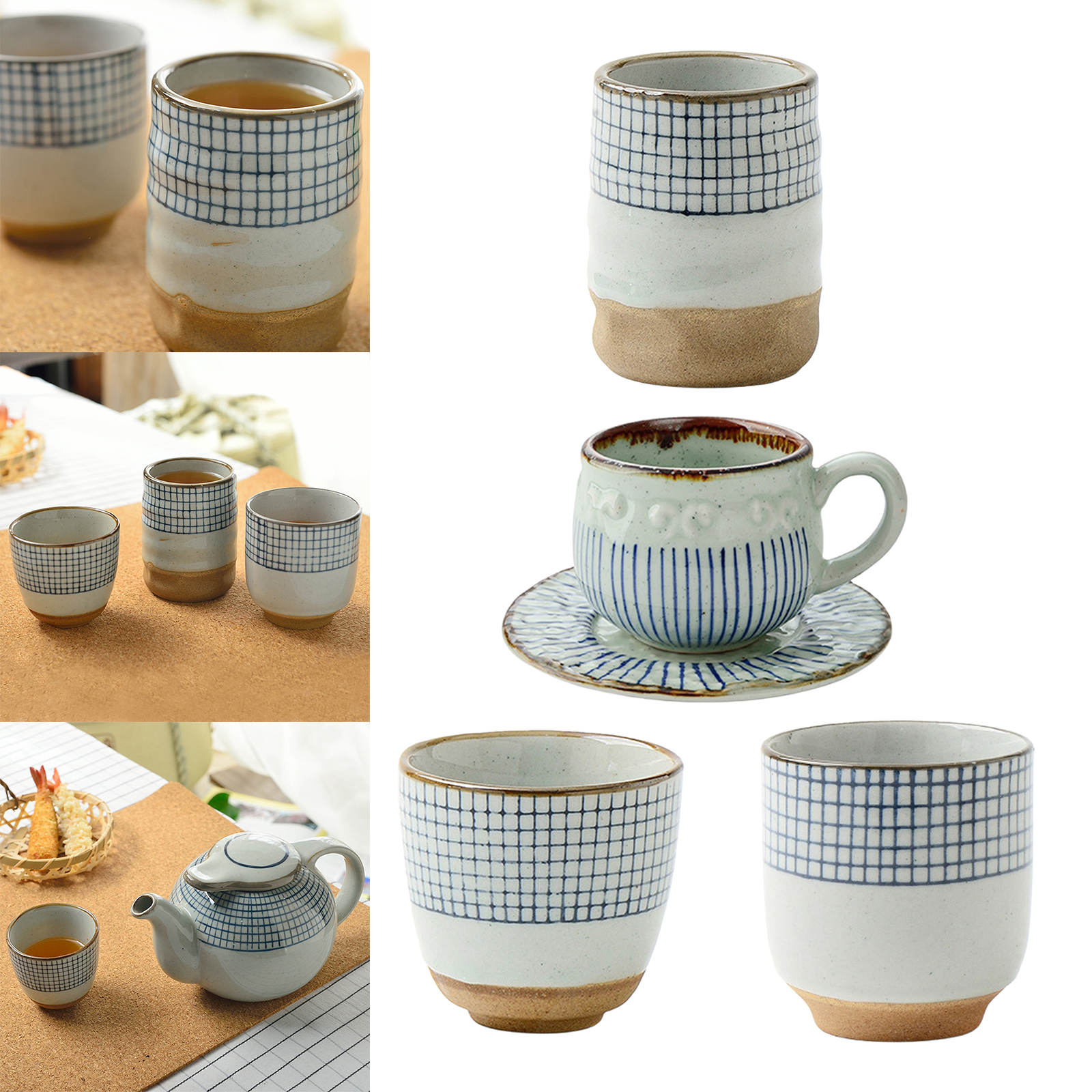 Teaware Japanese Yunomi Teacup Ceramic Tea Cup Handcraft Coffee Mug Cup for Coffee Table Decor