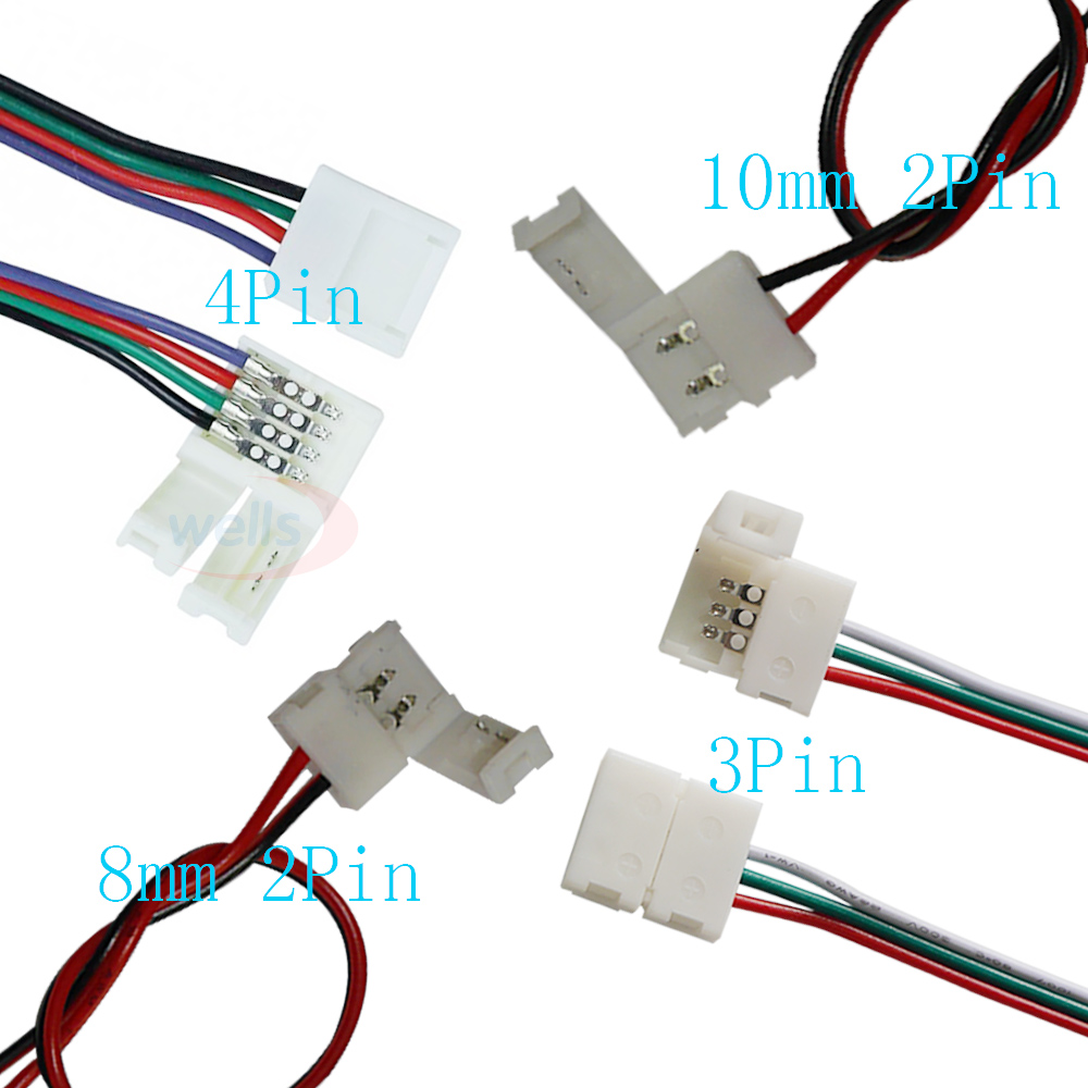10pcs//set  Cable 2 Pin LED Strip Connector 3528//5050 Single Color Adapte In UK