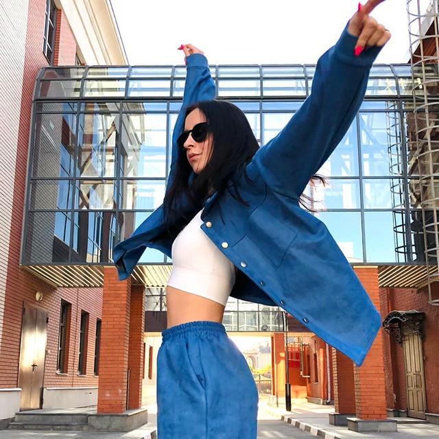GCAROL Women Velvet Tracksuits Drop Shoulder Oversize Single-Breasted Jacket And Elastic Waist Overalls Cargo Pants In 4 Season 4