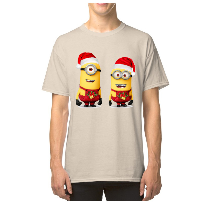 Christmas Minion Tees Gift Men T-shirt Merry Christmas Santa Claus Family Short Sleeve 100% Cotton Fabric Tshirts Funny T Shirt