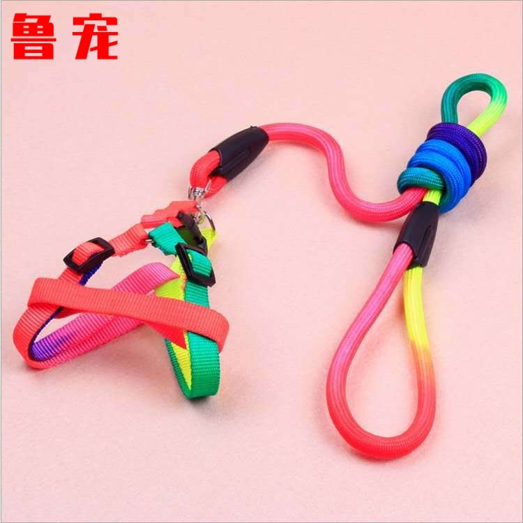 Lu Pet Color Round Rope Puppy Chest And Back Rainbow Small Dog Chest Belt Fashion Seven-Color Multi-color Skittles Sheng Tractio
