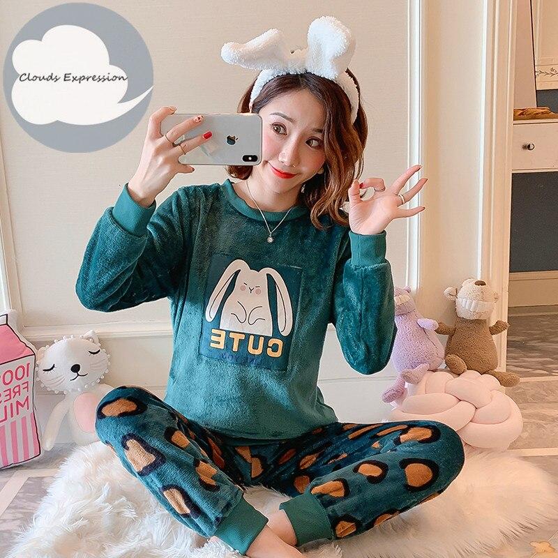 Winter Flannel Women Sleepwear Pajamas Girls Cartoon Print Pajama Set Pullover Coral Fleece Pijamas Mujer Home Suits