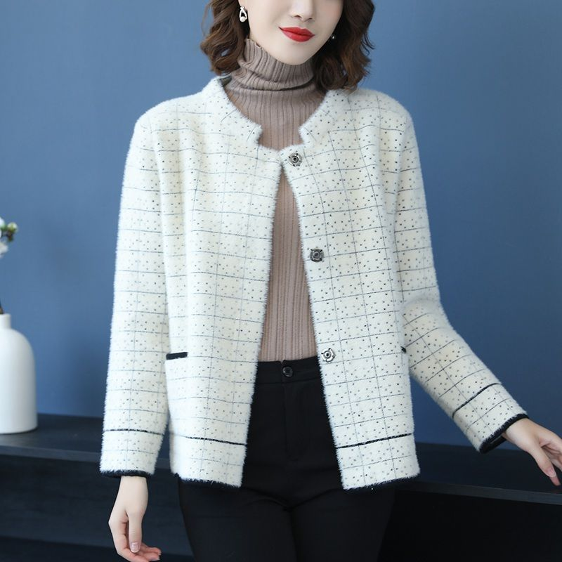 Autumn Winter Warm Short   Basic     Jacket   Women Casual Coats New Fashion Korean Style Plaid Thick Ladies Elegant Outerwear Coat P247
