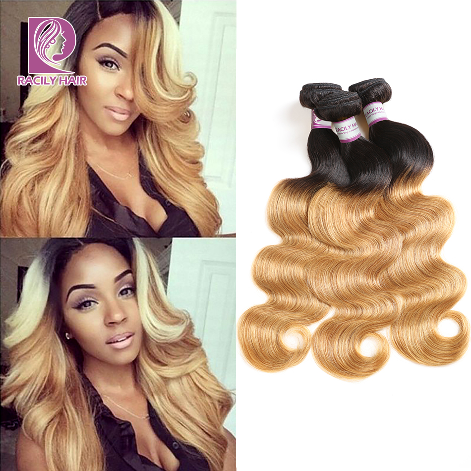 Racily Hair T1B/27 Ombre Brazilian Body Wave Hair Honey Blonde Ombre Human Hair Extensions 1/3/4 Bundles Remy Hair Weave Bundles