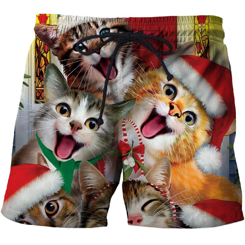 Christmas Cute Cat Series Fun Shorts Men's Beach Pants 3D Printing Sports Quick-drying Swim Trunks Comfortable Fitness Shorts
