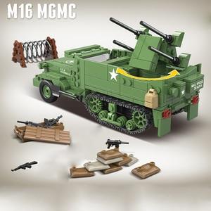 Image 2 - 518個啓発ミリタリー米国M16 mgmc WW2タンク車両モデル兵士ミニフィギュアビルディングブロックレンガのおもちゃ子供のギフト