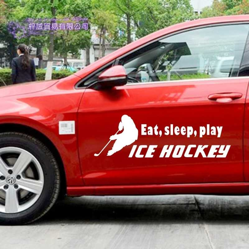 DCTAL Eat Sleep Ice Hockey Car Sticker Puck Decal Skiing Ice Sports Posters Vinyl Wall Decals Pegatina Decor Mural Sticker