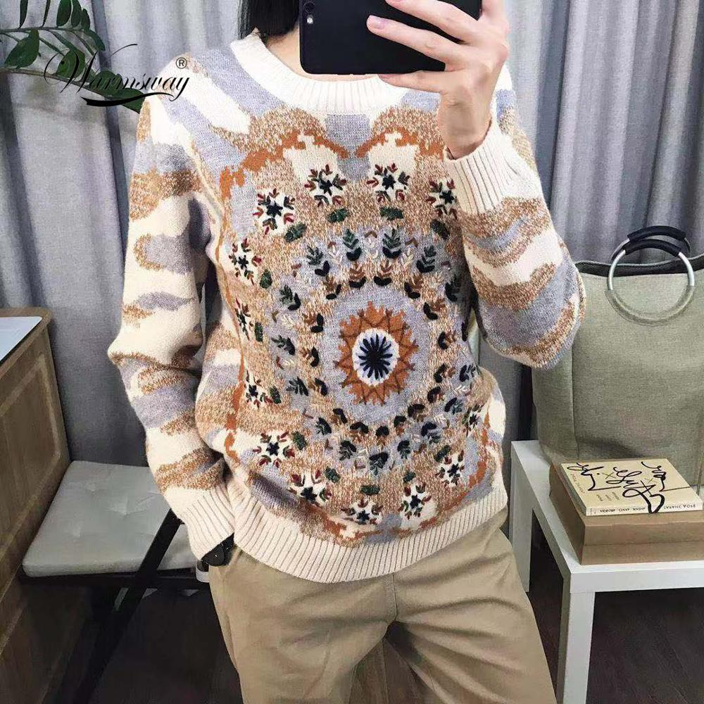 Women Sweater Color Block Jacquard Jumper Flower Embroidery Jersey Luxury Runway Design Pullovers Intarsia Knitted Top C-256