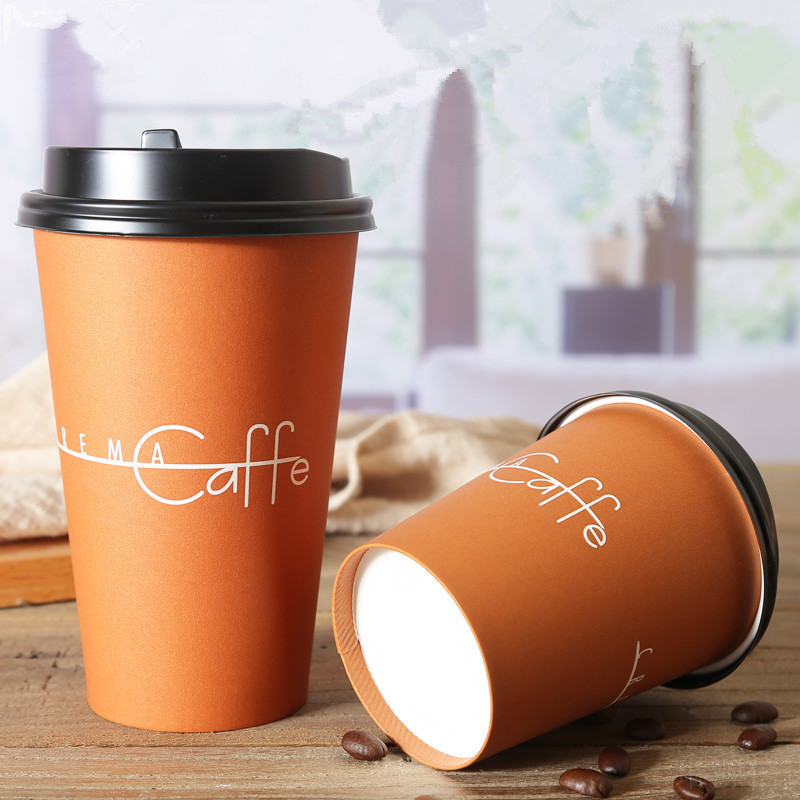 50pcs High Quality Thicken Disposable Coffee Cup 8oz 12oz 16oz Creative Birthday Party Espresso Cafe Drink Paper Cups With Lid