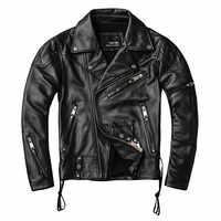 2019 Black Men American Motorcycle Leather Jacket Plus Size XXXXL Genuine Cowhide Autumn Slim Fit Biker's Coat FREE SHIPPING