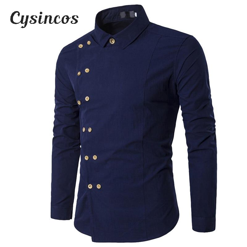 CYSINCOS New Brand 2020 Men Shirt Double Breasted Dress Shirt Long Sleeve Slim  Camisa Masculina Casual Male Hawaiian Shirts