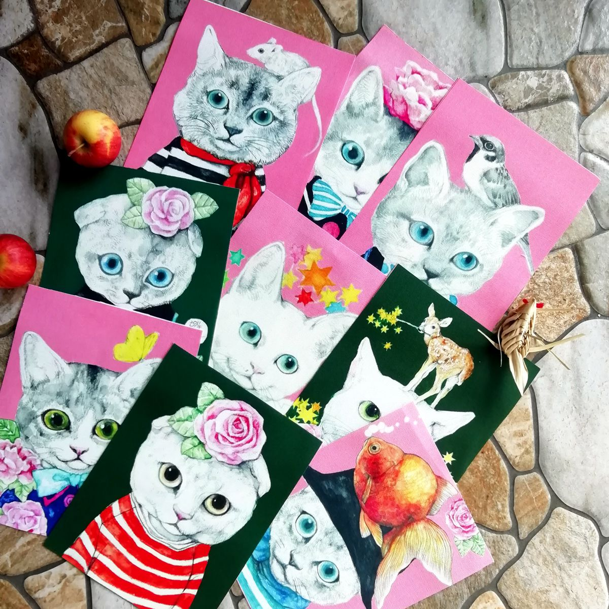 hand dyed fabric Cat Series Cotton canvas Fabric DIY Handmade Hometextile Patchwork Cloth For wallet/cup mat Patch wall decora