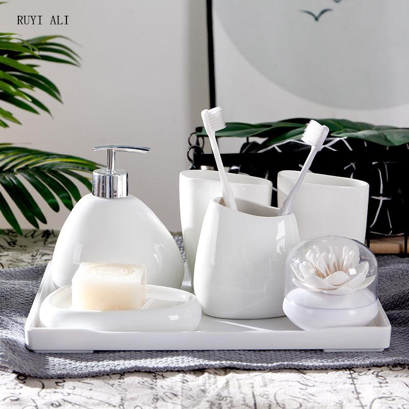 White Ceramic Bathroom Accessories Set