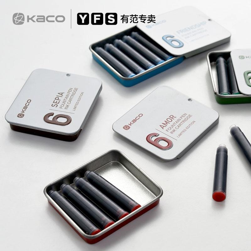 kaco 6PCS Disposable Blue and Black Fountain Pen Ink Cartridge Refills Length Fountain Pen Ink Cartridge Refills