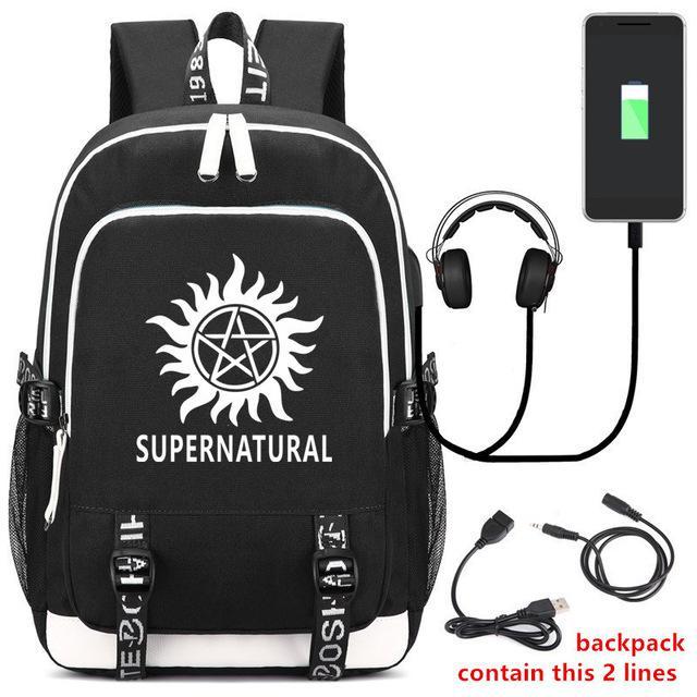 SPN Supernatural Backpack School bag Zipper Rucksack Canvas Leisure shoulder bag