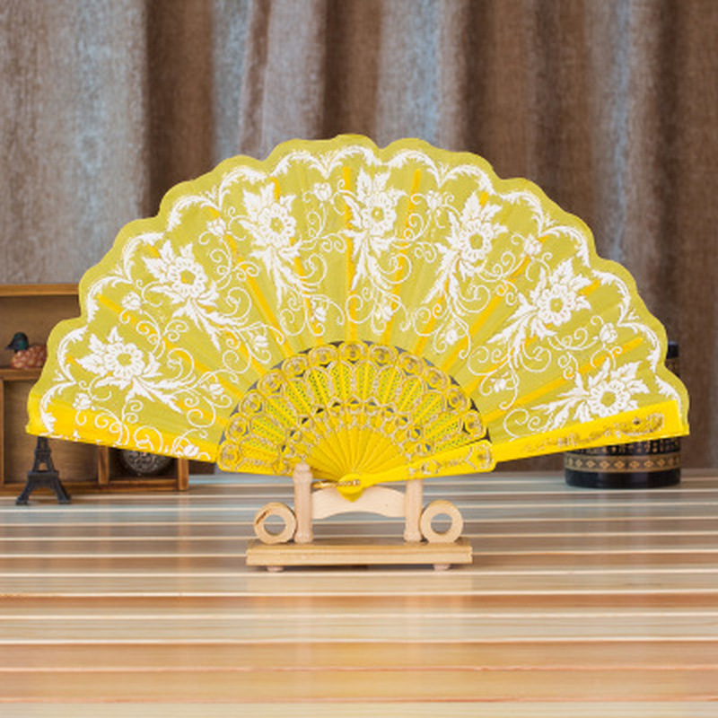 2019 Newest Chinese/Spanish Style Dance Wedding Party Lace Silk Folding Hand Held Flower Fan For Gift For Souvenir Wholesale