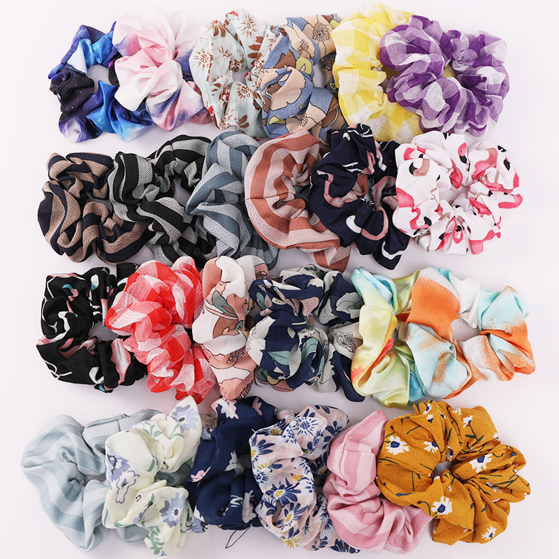 Women Elegant Print Flower Chiffon Crude Elastic Hair Bands Ponytail Holder Sweet Hair Scrunchie Tie Fashion Hair Accessories
