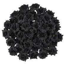 50 pçs simulação seda rosa flor cabeças para chapéu roupas álbum embelezamento (preto)
