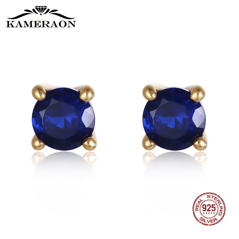 Women's Small Stud Earrings Silver 925 Earrings With Sapphire Natural Blue Stones Fine Fashion Korea Jewelry