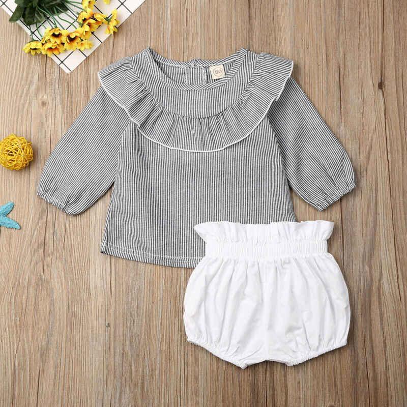 Комплект одежды для маленьких девочек Осенние Топы футболка шорты штаны