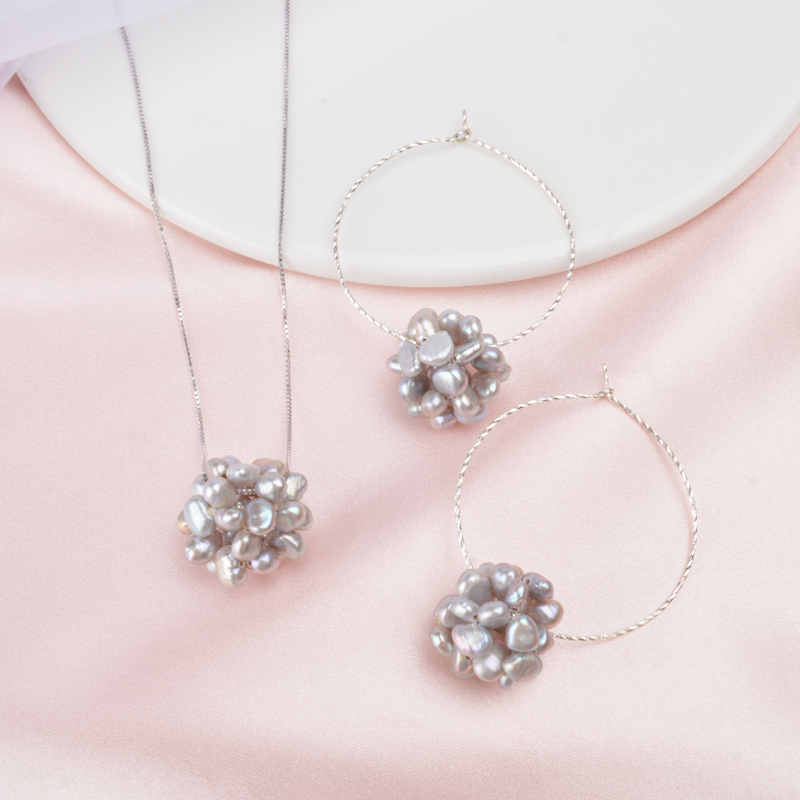 ASHIQI Natural Freshwater Pearl Ball Jewelry Sets More 925 Sterling Silver Chain Neaklace Hoop Earrings For