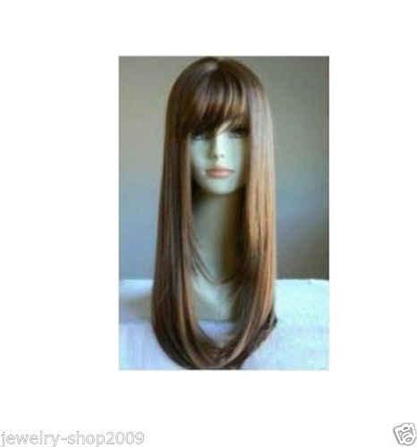 送料無料ホット耐熱パーティーの髪>>> 新かつらコスプレストレートダークブラウンロング女性の wigmen のかつら