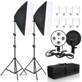Photography Softbox Lighting Kit With E27 Lamp Holder,8pcs LED Bulb,Carry Bag,Soft Box AccessoriesFor Photo Studio Video