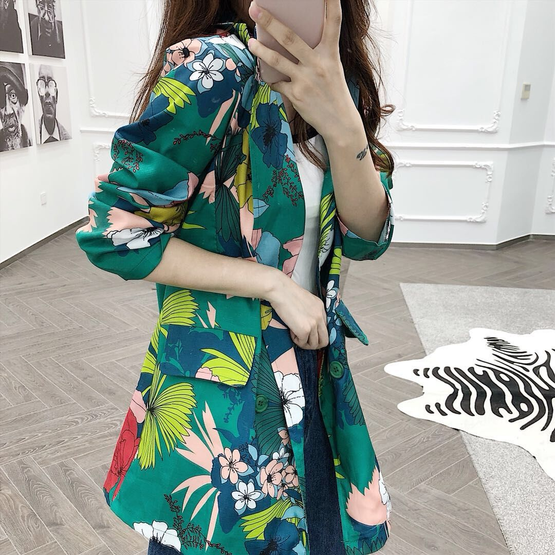 High Street Notched Collar print Women Blazer Single Breasted Autumn Spring Jacket 2019 Casual Pockets Female Suits Kawaii Coat