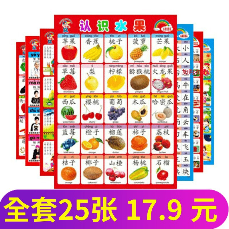 Baby Young CHILDREN'S Early Education 1-3 Years Old Wall Stickers Cognitive Hanging Painting Infant ENLIGHTEN Reading Silent Car