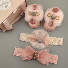 3ピース/セットレース女の赤ちゃん靴下セットクラウン弓新生児女の子のためのターバンベビーヘアアクセサリー
