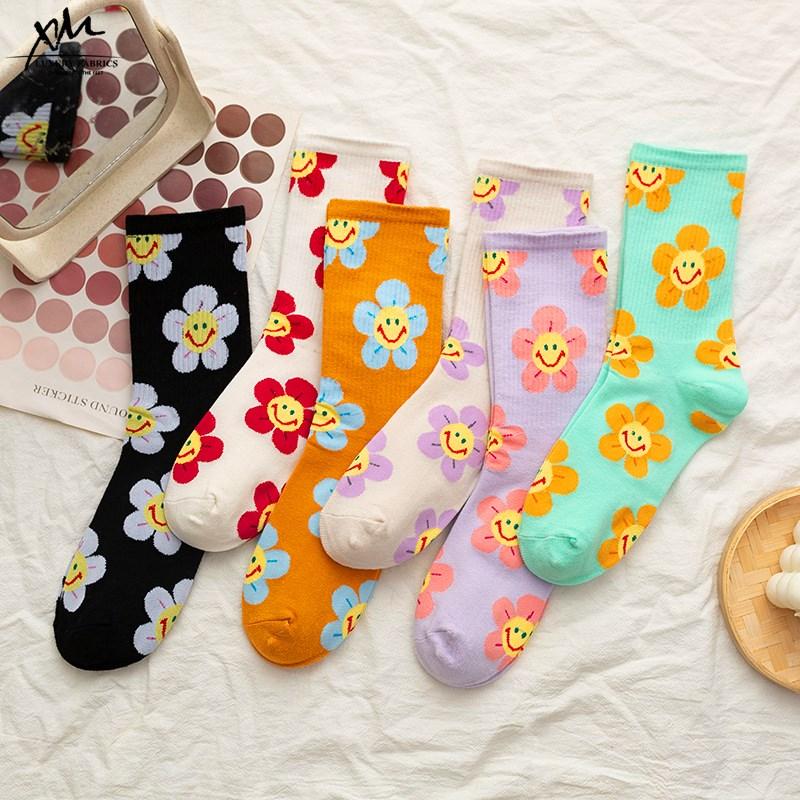 New Arrivals Japanese Korean Style Cartoon Flower Women Socks Harajuku Kawaii Socks Breathable Spring Autumn Casual Socks