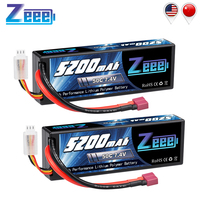 Zeee-baterías Lipo de 5200mAh, 7,4 V, 50C, para coche a control remoto, 2S, batería Lipo con enchufe decanos para coche a control remoto, camión, helicóptero, barco, 2 unidades