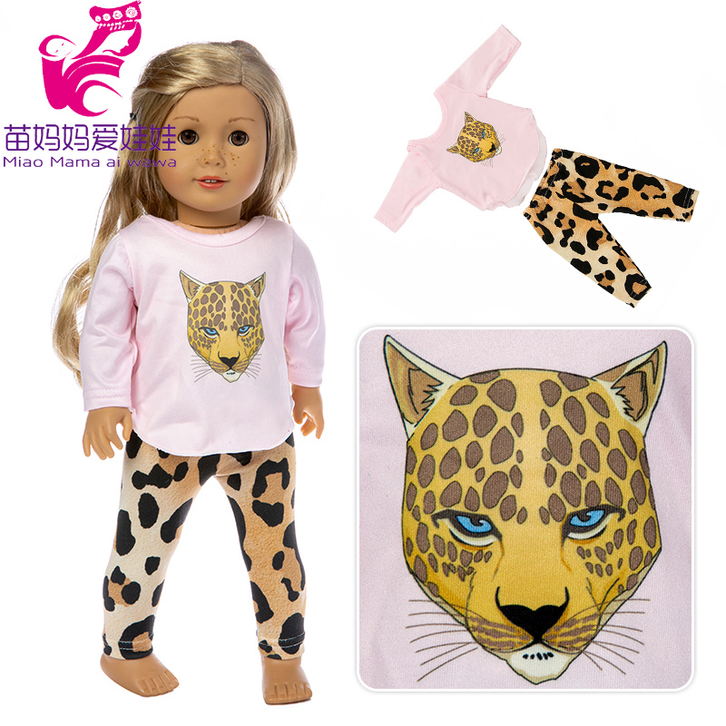 Doll Clothes For New Born Baby Dolls Clohes Fits 43-45cm Girl 18 Inch Doll Leopard Clothes And Pants