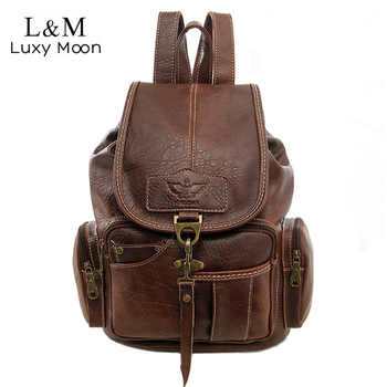 Vintage Women Backpack for Teenage Girls School Bags Large Drawstring Backpacks High Quality PU Leather Black Brown Bag XA658H - DISCOUNT ITEM  50% OFF All Category