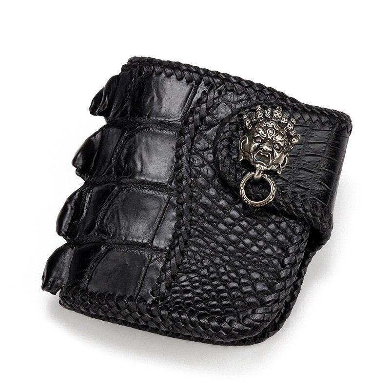 100% Genuine Crocodile Skin Men's Short Card Holder Wallet Exotic Alligator Leather Zipper Coin Pocket Male Hasp Clutch Purse