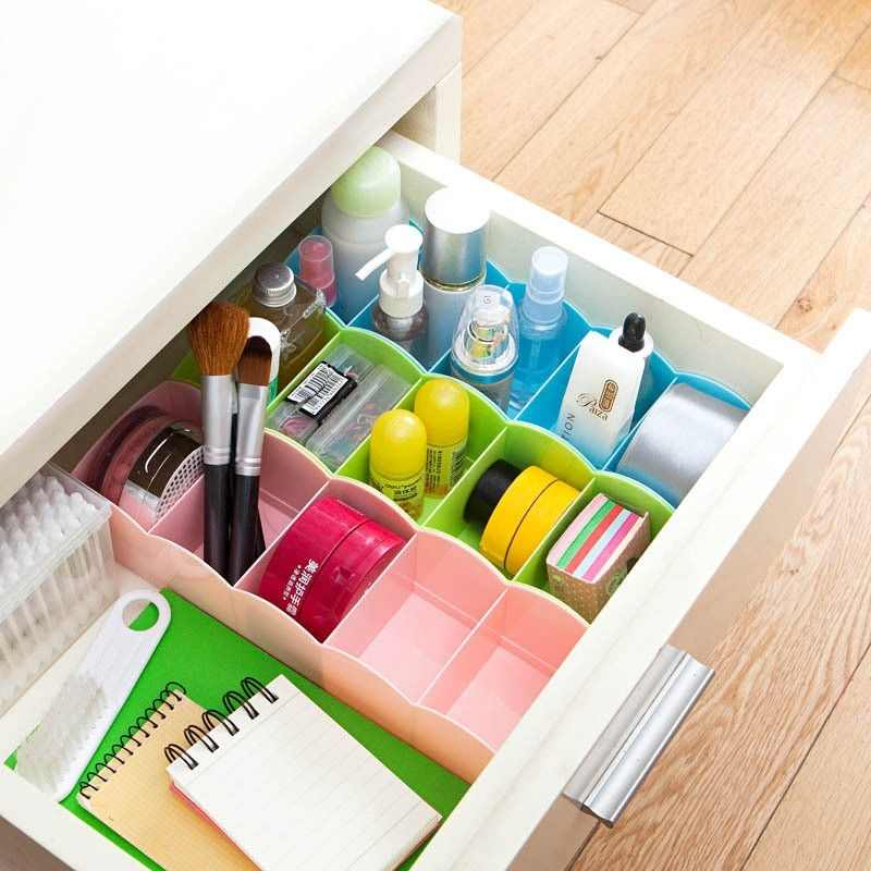 Popular Clothing Organizer Underwear Box Multi-function Desktop Drawer Storage Grid Health Environmental Protection Plastic